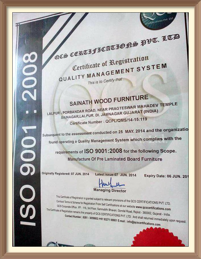 Sainath ISO 9001-2008 Certified Furniture Manufacturer